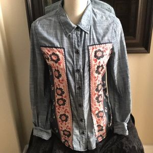 Free People Jean Button Up Shirt Sz Small